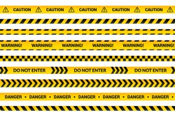 Caution tape set, yellow warning strips, danger symbol, arrows, yellow lines with black text and triangle sign. Flat banner isolated collection with attention message, cartoon vector illustration.