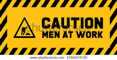 Caution under construction Men at work Work in progress Vector fun funny people worker working signs traffic road sign icon icons Do not enter will soon admittance attention Stripes area SafeDay day