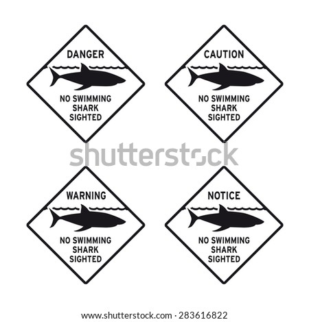 Caution warning danger no swimming shark sighted sign vector set