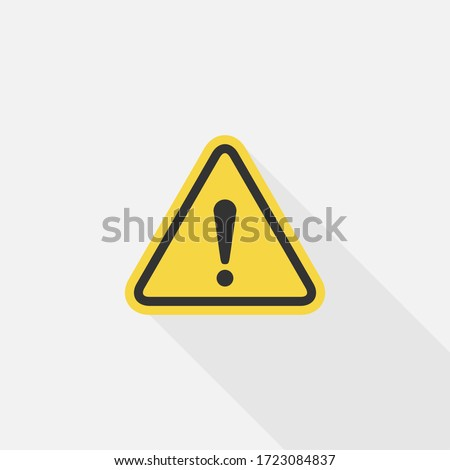 Caution Warning sign sticker, Danger sign, Vector design of flat icon on isolated background. Stock foto ©