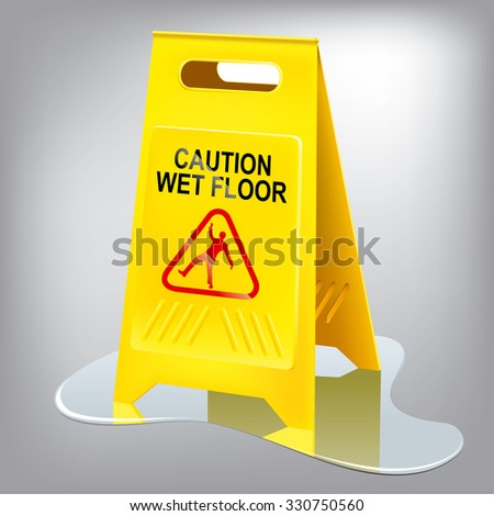 Caution wet floor sign. Easy editing.