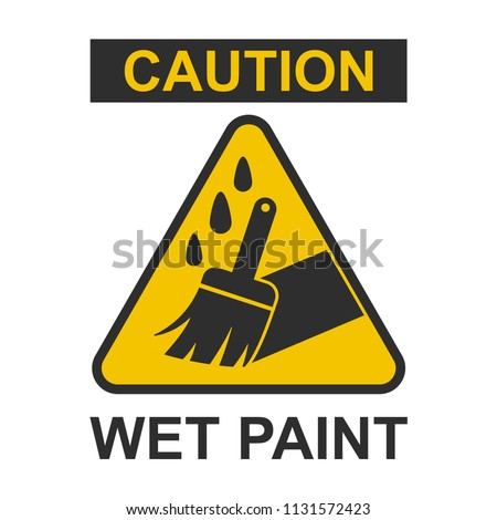 Caution wet paint sign. Vector flat warning icon isolated on a white background.