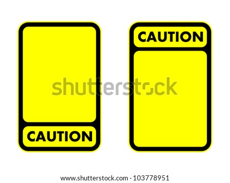 Caution with yellow blank plate