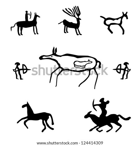 Cave art, ancient wild animals, horses and hunters