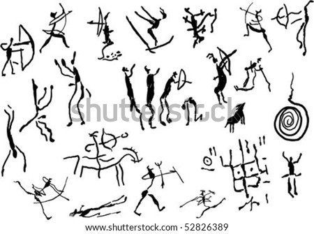 Cave art with Primitive rock painting on white background