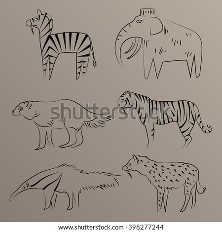 cave drawing animals  mammoth