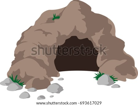 cave entrance with big stones