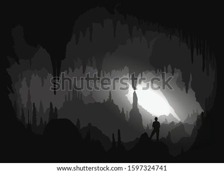 cave inside a backlit cavity