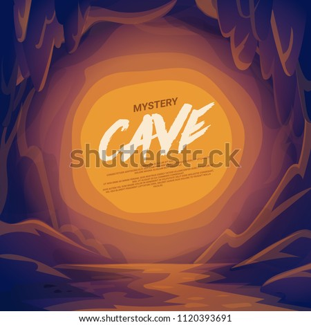 Cave landscape with place for text.. cartoon mountain scene background vector illustration