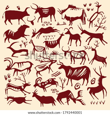 cave painting vector animal set
