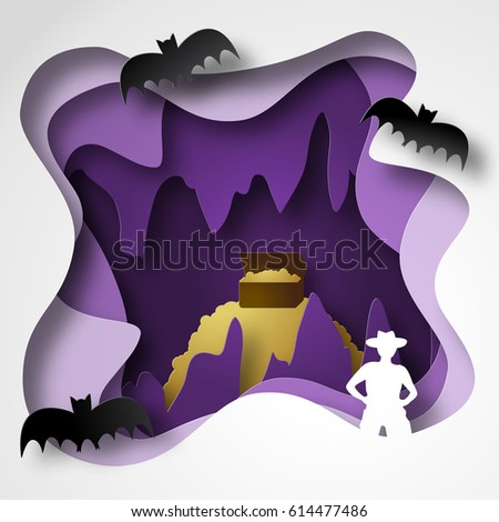 Shutterstock Cave paper cut shadow box with gold, stalactites and stalagmites, traveler and bats. Vector illustrations