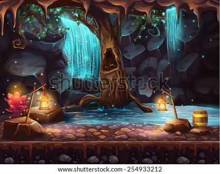 cave with a waterfall   magic