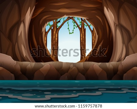 cave with entrance and water