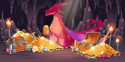 Cave with red dragon and treasure, piles of gold coins, jewelry and gem. Vector cartoon illustration of fairytale treasury with wooden chests, gemstones and magic beast with wings