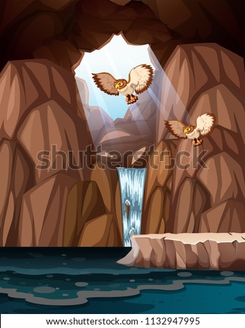 Stock Photo Cave with waterfalls and owls illustration