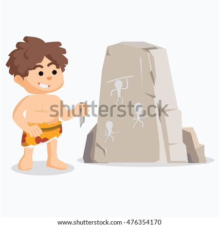 caveman drawing on stone