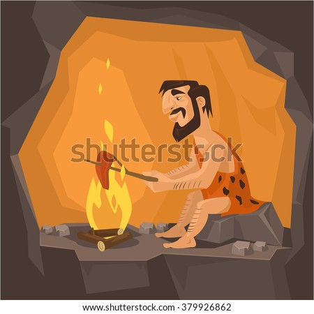 caveman is cooking in cave