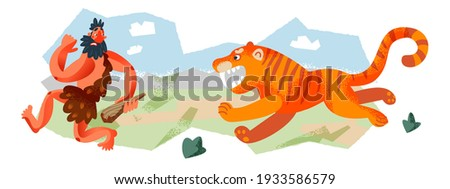 Caveman running from tiger in Stone Age set. Prehistoric ancient history vector illustration. Man running away from scary animal at hunt with stick. Savage hunter in nature. Сток-фото ©