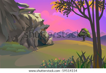 caveman's rocky cave and