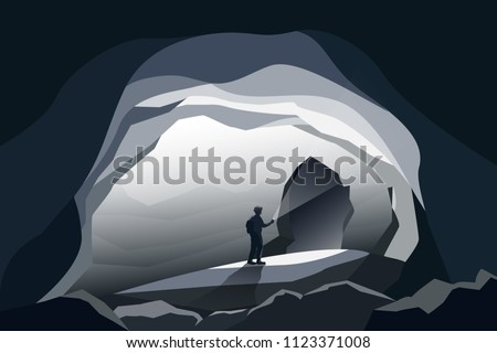 caves landscape and man