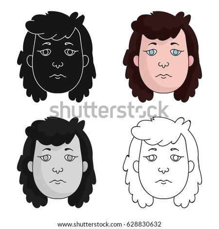 cavewoman face icon in cartoon