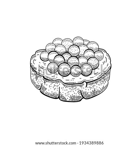 Caviar sandwich. Etching sketch caviar canapé. Red salmon fish eggs with bread piece. Vector luxury salted snack. Hand drawn line sandwich design. Black cartoon engraved drawing of sea food  Photo stock ©