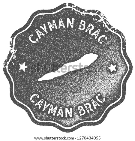 Cayman Brac map vintage stamp. Retro style handmade label, badge or element for travel souvenirs. Grey rubber stamp with island map silhouette. Vector illustration.
