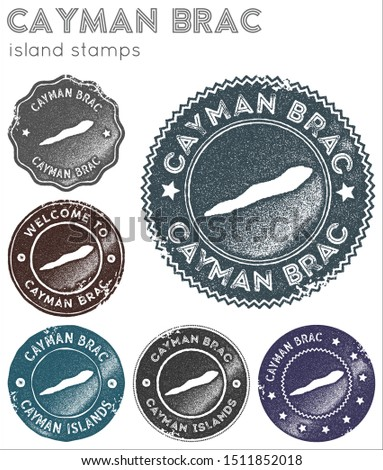 Cayman Brac stamps collection. Rubber stamps with island map silhouette. Vector set of Cayman Brac logo.
