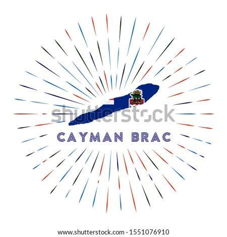 Cayman Brac sunburst badge. The island sign with map of Cayman Brac with Caymanian flag. Colorful rays around the logo. Vector illustration.