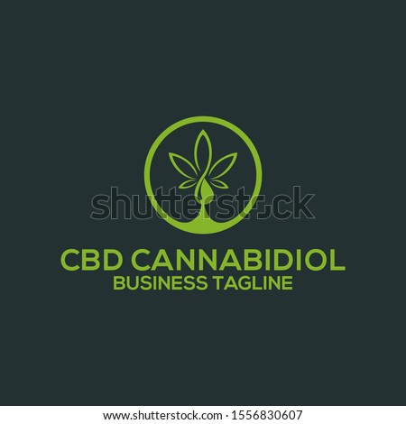 CBD Hemp Oil.Marijuana leaf. Medical cannabis. Cannabis extract. Icon product label and logo graphic template. Isolated vector illustration Stock photo ©
