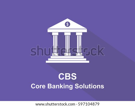 CBS Core Banking Solutions white text with bank office building illustration and purple background