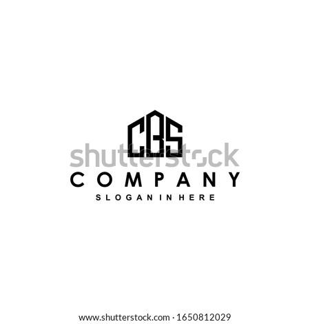 cbs letter logo design vector image with monogram geometric home real estate illustration concept