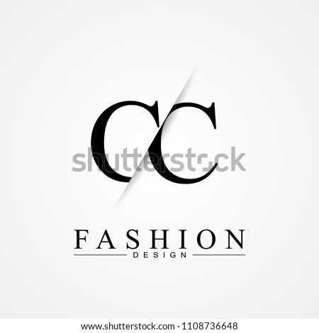 CC C C cutting and linked letter logo icon with paper cut in the middle. Creative monogram logo design. Fashion icon design template.