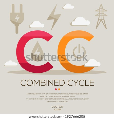 CC mean (Combined cycle) Energy acronyms ,letters and icons ,Vector illustration.  Foto stock ©