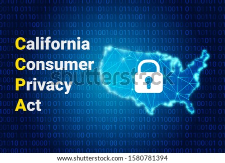 CCPA - California Consumer Privacy Act. vector background. USA data security. Consumer protection for residents of California, United States.