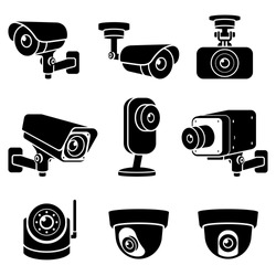 CCTV camera icons. Vector illustrations.