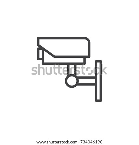 Cctv camera line icon, outline vector sign, linear style pictogram isolated on white. Video Surveillance Symbol, logo illustration. Editable stroke