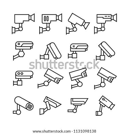 CCTV icons set, line theme