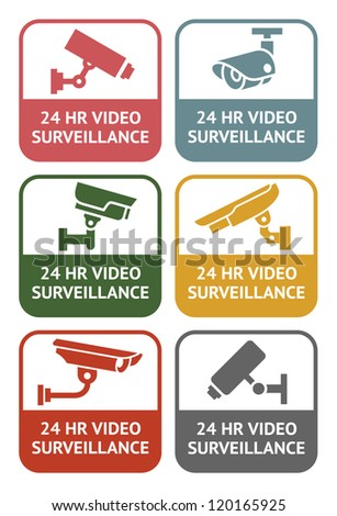 CCTV labels - retro colors, vector illustration