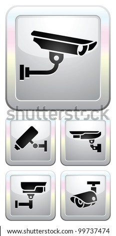 CCTV labels, video surveillance, set button security camera pictogram