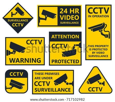 cctv sign, security camera stickers. vol.2
