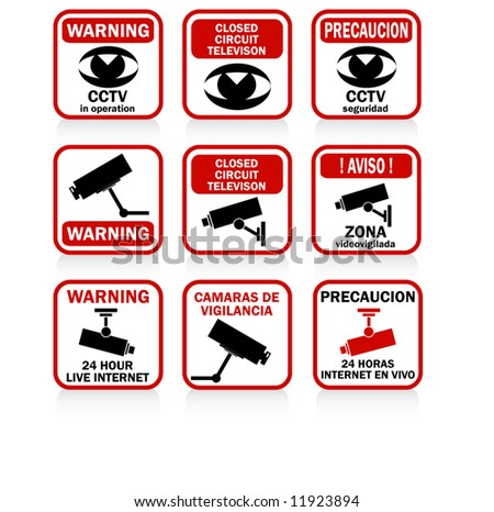 cctv signs and warnings red
