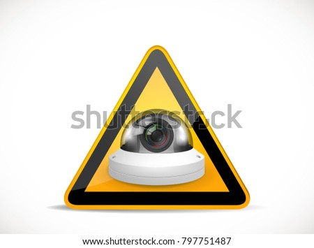 CCTV symbol - security camera with warning sign