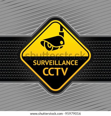 Cctv symbol under construction, camera surveillance sign