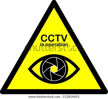 cctv warning sign eye with