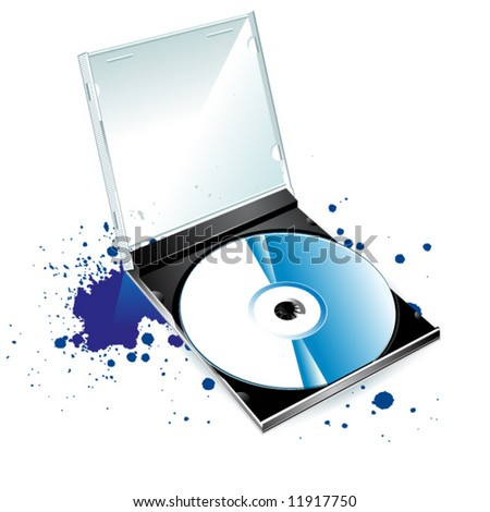 CD and a blot on a white background