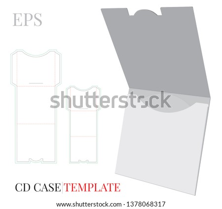 CD Case, CD Envelope template, vector with die cut / laser cut layers. White, clear, blank, isolated CD Envelope mock up on white background with perspective view