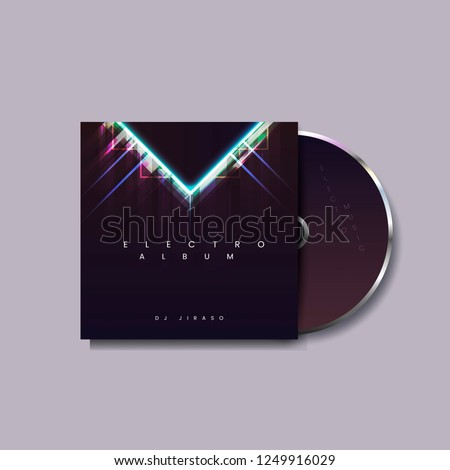 CD case layout design vector