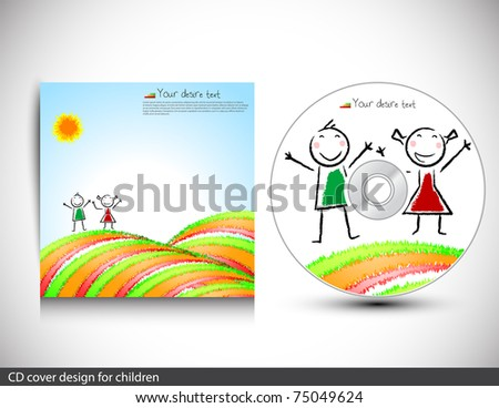Cd cover design for children.Vector illustration.