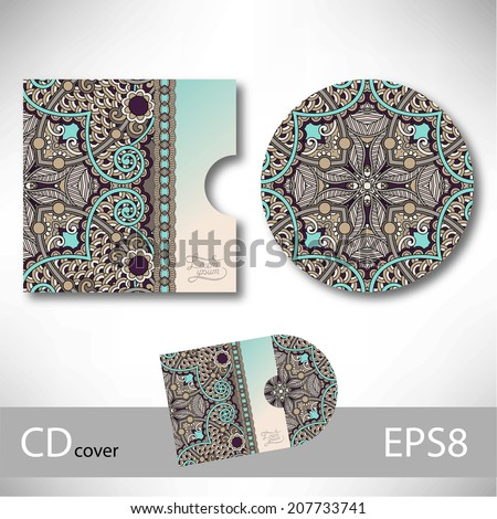 CD cover design template with ukrainian ethnic style ornament for ...
